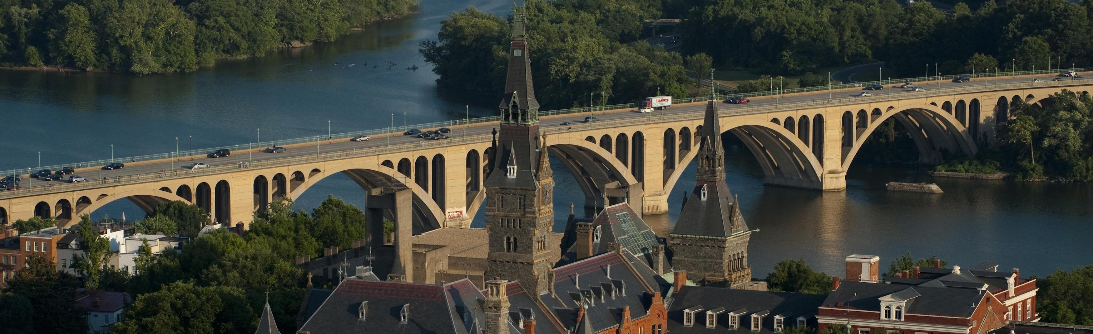 Aerial view of Georgetown University looking down the Potomac River